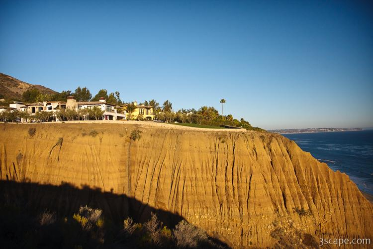 Big homes on bluffs on the Pacific coast