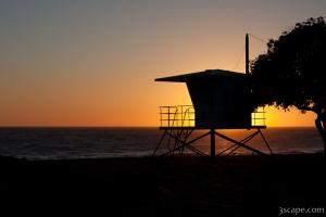 California Life Guard Shack at Sunset