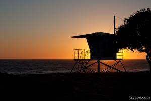 California Life Guard Shack at Sunset