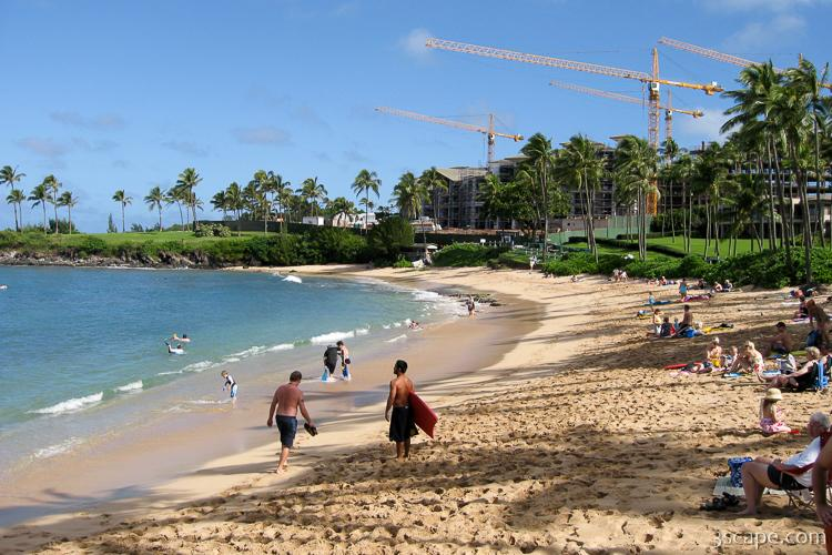 Napili Beach with resort construction in the background