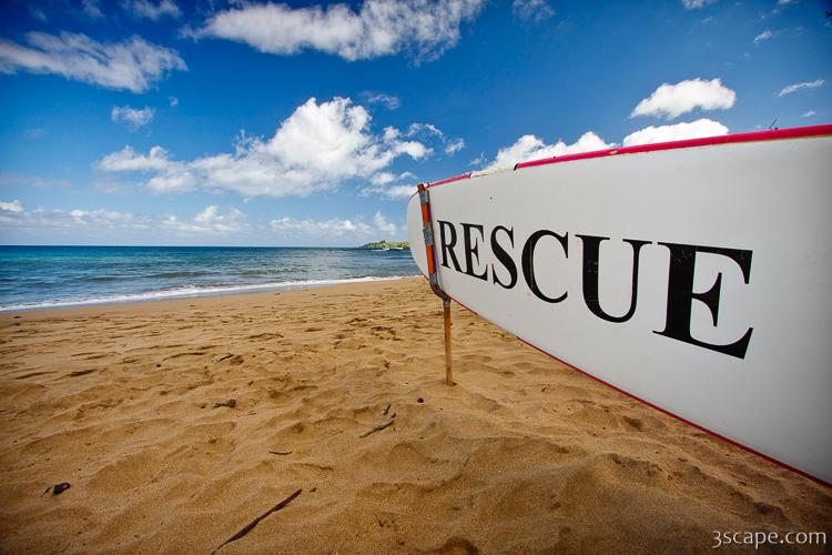 Rescue surfboard for lifeguard at DT Fleming Beach Park