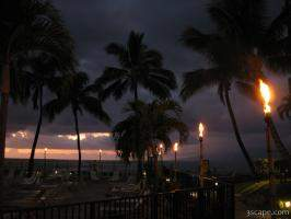 Tiki torches after a beautiful Maui sunset