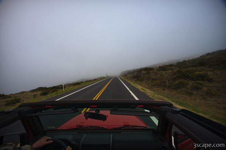 Driving into the clouds on Haleakala