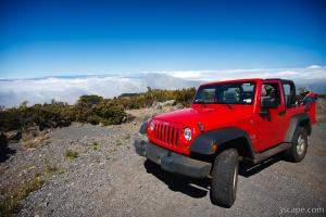 Jeep Wrangler above the clouds on Haleakala Volcano