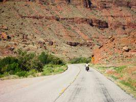 Motorcycle riding in canyon country