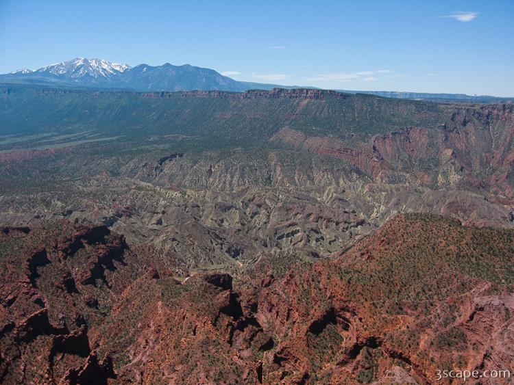 View of La Sal mountains and the canyonlands from Top of the Wor