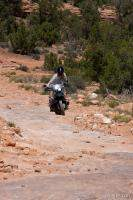 Falke maneuvering his BMW R1150GS on the slickrock