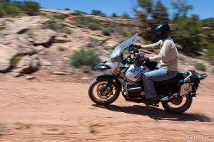 Falke maneuvering his BMW R1150GS on the trail