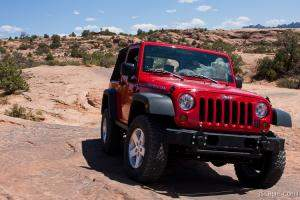 Jeep Rubicon on Fins N Things slickrock 4x4 trail