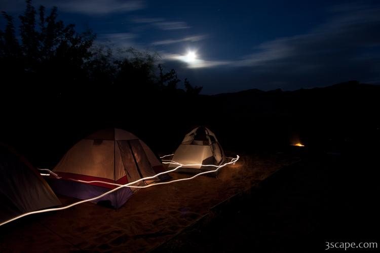 Night shot of camp site at Goose Island