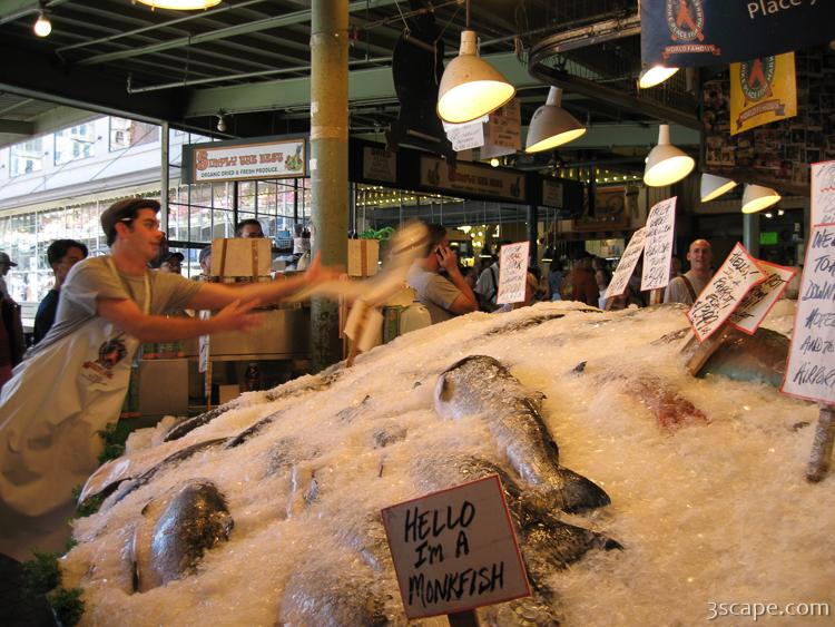 Fish throwing at pike place fish market photograph fine for Pikes market fish