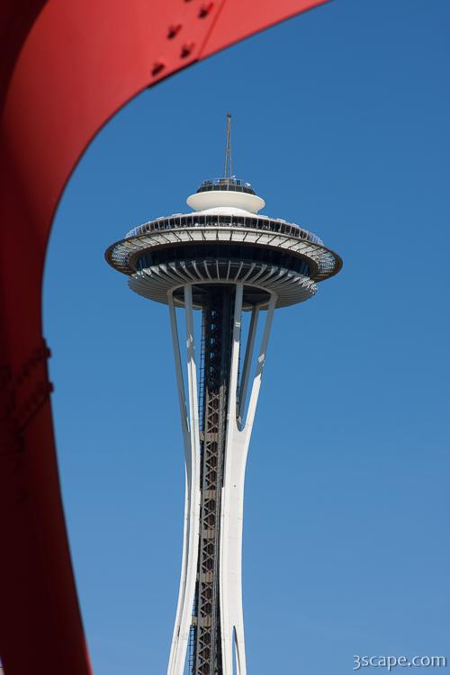 Space Needle under the Eagle sculpture, Olympic Sculpture Park