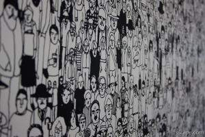 Wallpaper of people in Seattle Art Museum building, Olympic Scul