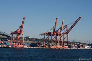 Huge ship cranes in Port of Seattle