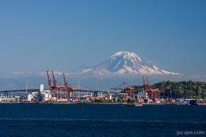 Port of Seattle with Mount Rainier