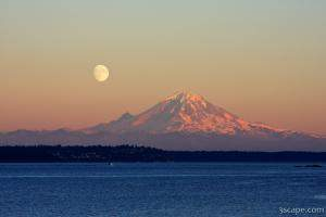 Moon Over Mount Rainier