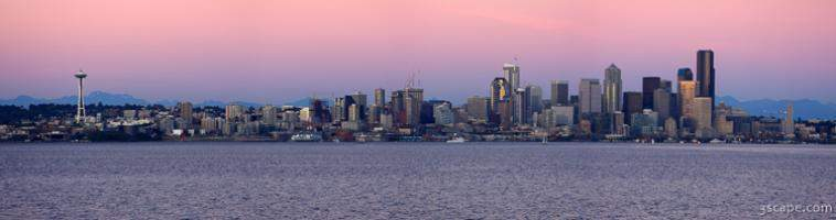 Seattle panoramic at dusk