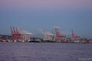 Port of Seattle with Mount Rainier at dusk