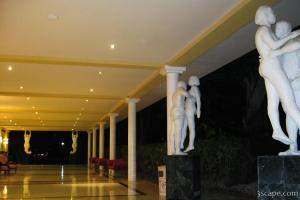 Hallway and statues at the resort