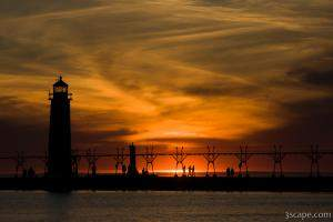 Sunset at Grand Haven pier and lighthouse