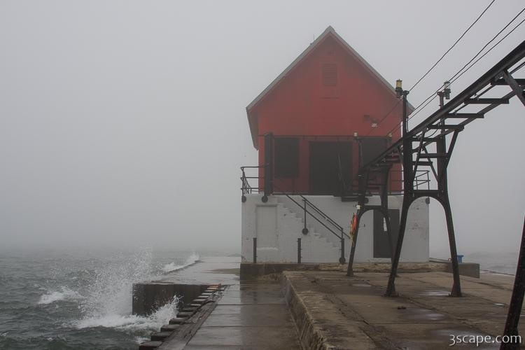 Grand Haven lighthouse in thick fog