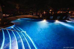 Night shot of the main pool area