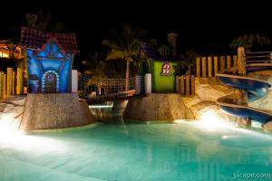 Night shot of the kids pool area