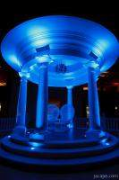 Greek gazebo illuminated with cool blue lights