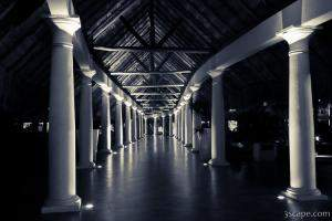 Long corridor with pillars in black and white