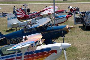 Private aircraft lined up at Oshkosh