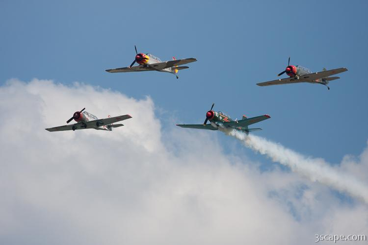 Red Star Aerobatic Team in Russian Yak-52 aircraft