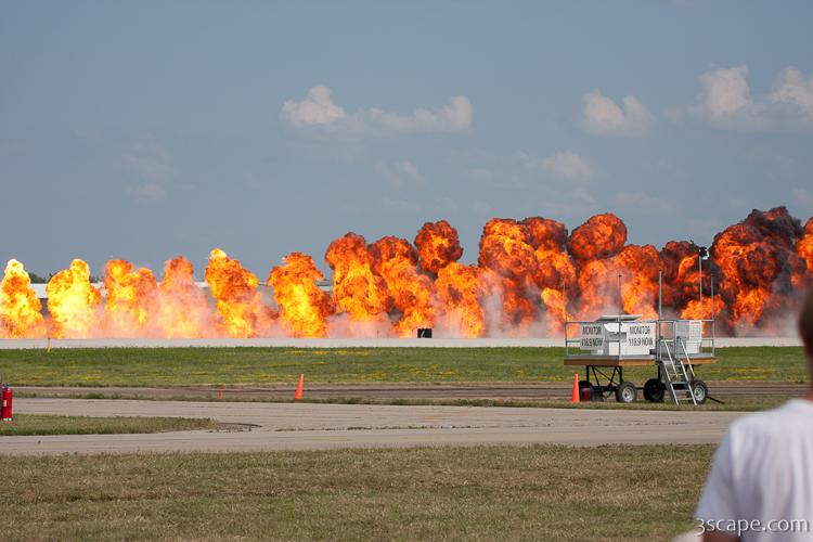Wall of fire bomb run by B-25 Mitchell