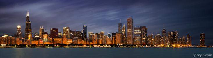 Chicago Skyline at Night Panoramic Wide
