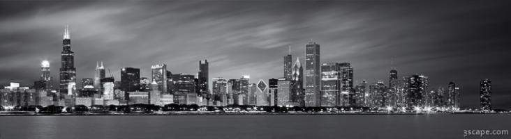 Chicago Skyline At Night Black And White Panoramic