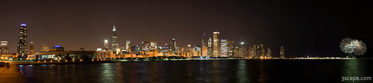 Beautiful Chicago Skyline With Fireworks High Resolution