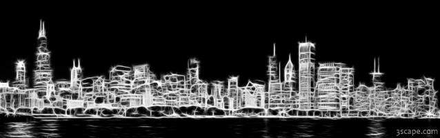 Chicago Skyline Fractal Black and White