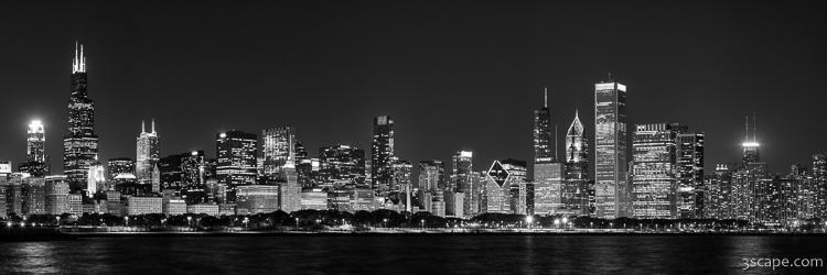 Chicago Skyline At Night Black And White Panoramic