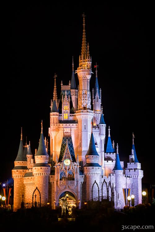 Cinderella's Castle and Partners statue at night