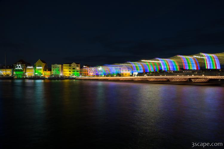 Willemstad and Queen Emma Bridge at Night