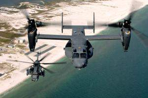 CV-22 Osprey and an MH-53 Pave Low