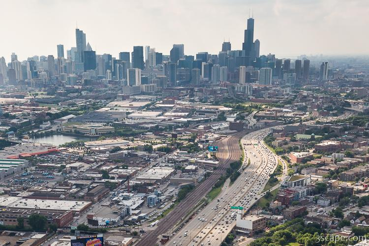 Kennedy Expressway And Chicago Skyline Photograph