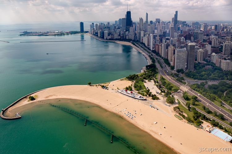 North Avenue Beach And Chicago Skyline Fine Art Print