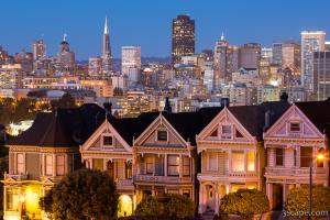 The Painted Ladies and San Francisco Skyline