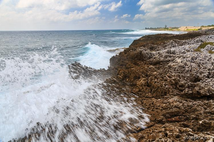 Rough waves at Grand Cayman blow holes area