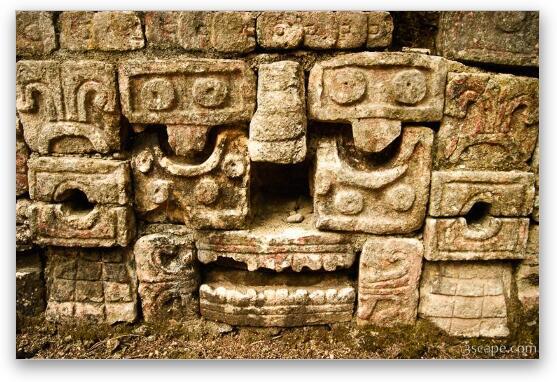 Carved face - Mayan art Fine Art Print - Landscape & Travel ...