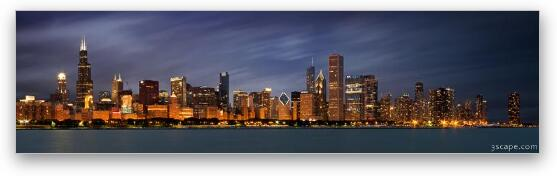 Chicago Skyline at Night Panoramic Wide Fine Art Print